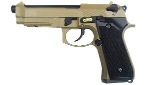 ПИСТОЛЕТ ПНЕВМ. WE BERETTA M92F, CO2, tan, металл, рельса WE-M008-T-M9A1-CO2 / CP321(TAN)