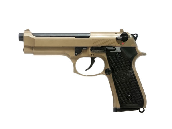 ПИСТОЛЕТ ПНЕВМ. WE BERETTA M92F, CO2, tan, металл, WE-M001-T-CO2 / CP301(TAN)