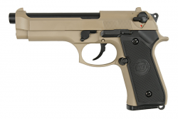 ПИСТОЛЕТ ПНЕВМ. WE BERETTA M92F, tan, металл, рельса WE-M009-TAN