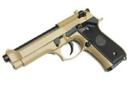 ПИСТОЛЕТ ПНЕВМ. WE BERETTA M92F, tan, металл, рельса WE-M009-TAN / GP301(TAN)