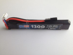 АКБ BlueMAX 7.4V Lipo 1300mAh 20C stick 13.5x21x128mm приклад весло, крейнсток, АК  под крышку
