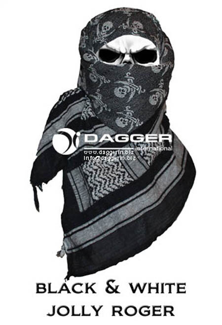АРАФАТКА Tactical Shemagh Black/White Jolly Roger код DAGGER DI-9002