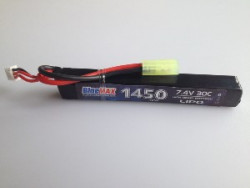 АКБ BlueMAX 7.4V Lipo 1450mAh 30C stick (15x16.5x115)  AUG, G36, М-серия цевье, MP40, АК под крышку