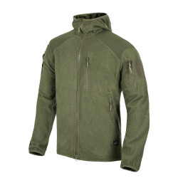 КУРТКА ALPHA HOODIE Jacket - Grid Fleece - Olive Green, код HELIKON-TEX BL-ALH-FG-02