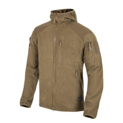 КУРТКА ALPHA HOODIE Jacket - Grid Fleece - Coyote, код HELIKON-TEX BL-ALH-FG-11