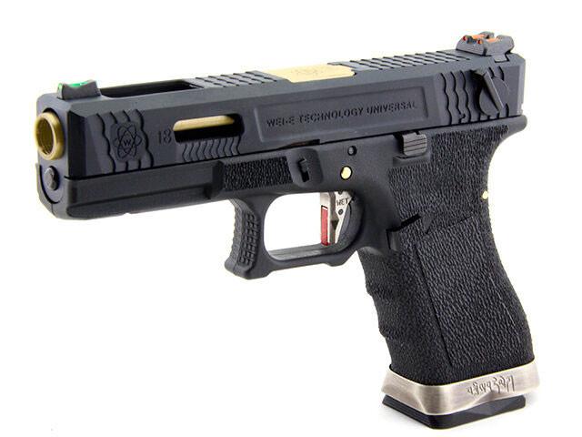 ПИСТОЛЕТ ПНЕВМ. WE GLOCK-18 G-Force, авт, металл слайд, черная рамка, черный слайд, золченый ствол  WE-G002WET-1 купить в интернет-магазине 7,62 по цене 9 900 руб.